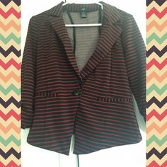 Striped blazer Shell: 96% Polyester. 4% Spandex | Lining: 100% Polyester. Made in Indonesia. Stoosh Jackets & Coats Blazers
