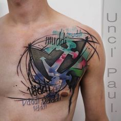 Watercolor Abstract Tattoo On Man Chest