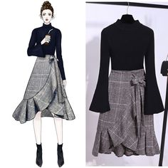 Flare Sleeve Sweater + Frills Skirt Suit - Source by - Fashion Design Drawings, Fashion Sketches, Fashion Drawing Dresses, Fashion Dresses, Frill Skirts, Midi Skirt, Knit Skirt, Pleated Skirt, Casual Outfits
