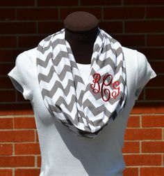 Monogrammed Chevron Infinity Scarf Gray and White Knit Jersey  Game Day Infinity Scarfs too!
