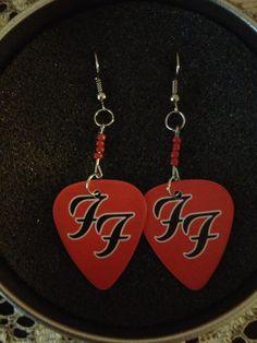 foo fighters guitar pick earrings