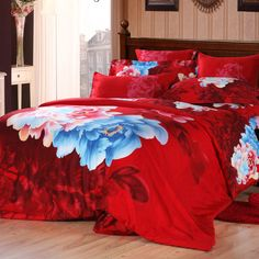 Blue Pink and Red Chinese Wedding Themed Romantic Warm Traditional Full, Queen Size Bedding Sets
