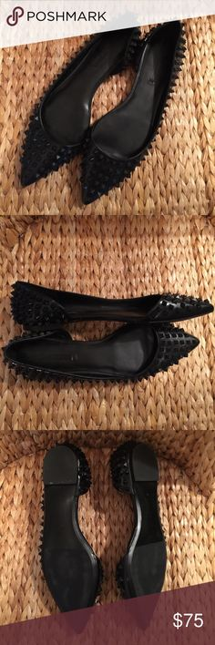 Zara Black Studded D'Orsay Flats size 41 10M Sweet!! These D'Orsay Flats by Zara woman are super cute!!! Pyramid Studs throughout look like the Red bottom Loubi's in style... they do run small so fitnis best for a size 10 or a 9.5 barefooted. I'm a 9.5 and they do fit me. Sold out everywhere and I searched endlessly for this pair just because I can't stand it when I can't get it! So yea now I feel like an idiot letting it go!😝 Vegan leather and never worn..... Zara Shoes Flats & Loafers