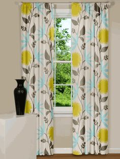 floral curtains with teal, gray, yellow on white. Perfect for the school area!!