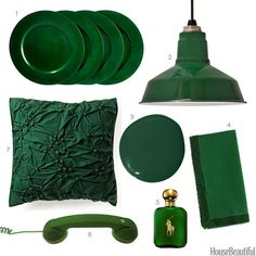 Chargers, a phone, napkins,and more finds in pine green.