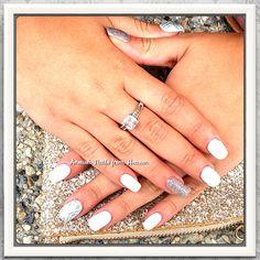 White & silver summer bio nails manicure