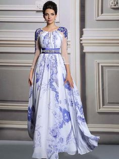Elastic satin beading applique evening dresses with sleeves - callmelady.com