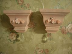 PAIR OF SMALL SHABBY PINK SHELFS HANGING PRISIM   SHABBY~COTTAGE~VINTAGE STYLE #Cottage