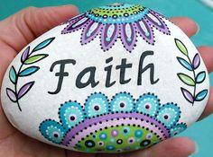 Inspiración arte flor River Rock Stone fe por LisaEverettDesigns