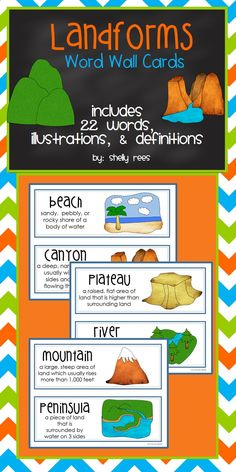 Landforms Word Wall Cards! Fun, colorful set of 22 landform word wall cards to help reinforce the concept. Perfect for my Social Studies class!