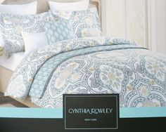 Amazon.com - Cynthia Rowley Duvet Cover Ornate Boteh Paisley Medallion Print in Blue Grey 3 Piece Bedding Set in Full Queen or King Size (Queen) -