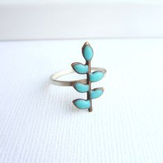 Sterling silver ring with a blue turquoise enamel by lunahoo