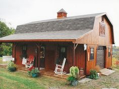This Amish barn style house is a tiny house design inspired by barns. It's an Amish barn style hou . Small Barn Plans, Small Barns, Small Barn Home, Amish Barns, Amish House, Cottage House, Barn House Plans, Shed Plans, Pole Barn House Kits