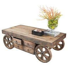 One of a kind rustic wood coffe table on wheels Modern Industrial Furniture, Rustic Industrial, Rustic Wood, Industrial Design, Rustic Coffee Tables, Coffe Table, Mountain Home Interiors, Coffee Table With Wheels, Home Remodeling