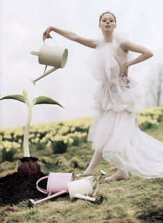 romanticnaturalism:  Coco Rocha watering a giant beanstalk as captured by Tim Walker for Albion F/W 09