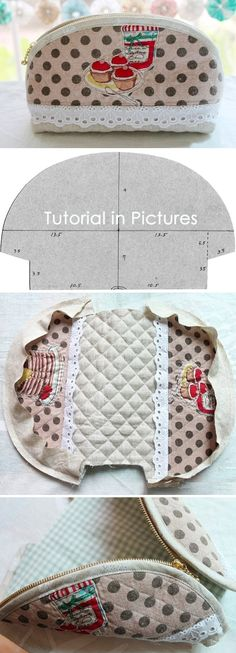 How to make a cute quilted zippered makeup bag! DIY Pattern & Tutorial in Pictures. www.handmadiya.co...
