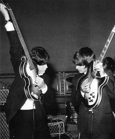 Paul & George tuning up  | via Beatle Love ~ Cityhaüs Design
