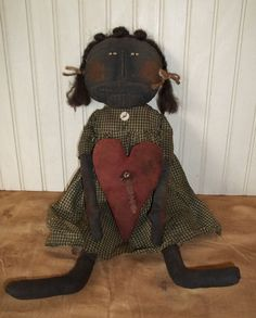 Primitive Grungy Black Girl Doll & Her Valentine Heart #Primitive