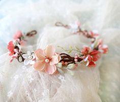 coral pink flower circlet, mint green wedding, cream bridal headpiece - BEATRIX - rustic hair wreath, flower girl, wedding accessories. $85.00, via Etsy.