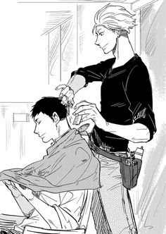 Haikyuu!! - Terushima& Daichi   I don't know why but it fits Terushima very good to be a hairdresser