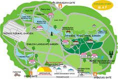 map of Shinjuku Gyoen National Gardens, Tokyo