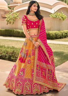 #yellow #woven #banarasi #silk #bridal #lehenga #choli #dupatta #designs # traditional #indian #outfits #gorgeous #wedding #look #ootd #new #arrival #womenswear #online #shopping Bridal Lehenga Online, Designer Bridal Lehenga, Bridal Lehenga Choli, Silk Lehenga, Silk Dupatta, Anarkali, Lehenga Blouse, Salwar Kameez, Kurti