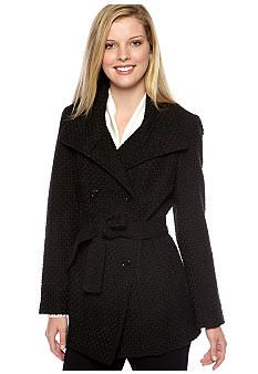 Calvin Klein Basketweave Double Breasted Coat