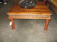 Carved India Acacia Coffee Table   eBay