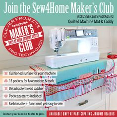 The S4H Maker's Club - Exclusively at your Janome Dealer - Quilted Machine Mat & Caddy   Sew4Home