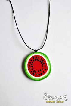 Watermelon Necklace by Sisunyak on Etsy