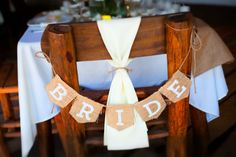 Bride Sign for the Sweetheart Table in burlap #WeddingIdeas #DestinationWedding