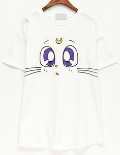 T-Shirt décontracté imprimé chat -blanc  9.44