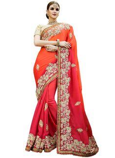 Monumental Orange Satin Designer Saree