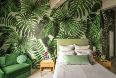 Say goodbye to long, bumpy plane rides and instead bring the tropical vacation straight to your home with Wild Thing, our latest collaboration with Ghislane Showroom Design, Interior Design, Palm Leaf Wallpaper, Tropical Wallpaper, Paper Wallpaper, Teal Sofa, Wall Treatments, Living Room Sofa, Wall Murals