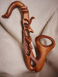 Pared de talla saxofón saxofón madera saxofón saxofón