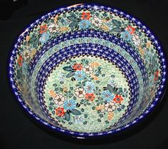 Polish stoneware  Painting is done with a sponge.