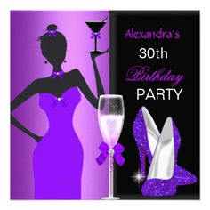 Glamorous Purple Wild Birthday Party Girl Personalized Announcements