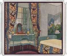 """The caption under this image reads """"This delightful room developed by the D. H. Holmes Company shows the smart effect of the new Morgan design."""" It appeared in the March 1924 issue.  Source: Ladies Home Journal Image from the 1920s bedroom gallery at American Home & Style."""
