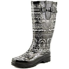 Ladies' Faux Fur Lined Rainboot-Black/White Tonal, 6 * For more information, visit image link. (This is an affiliate link) #Outdoor
