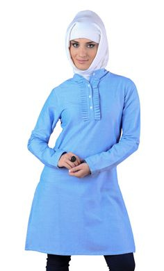 Nyla kurti with demi-tuxedo front Front open buttons from neck to chest. Breathable and absorbent fabric. 100% Chambray