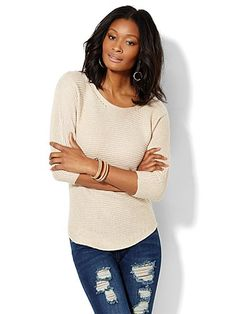 Shop Ribbed-Knit Dolman Sweater . Find your perfect size online at the best price at New York & Company.