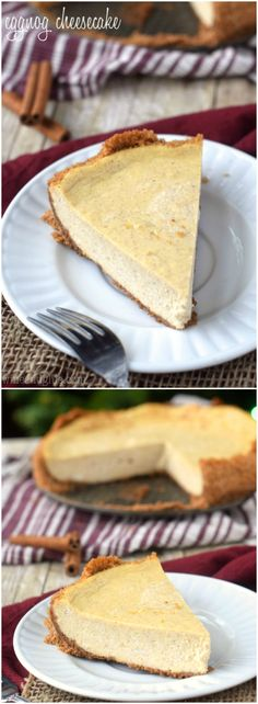Delicious Eggnog Cheesecake with a perfect Cinnamon Graham Cracker Crust!: