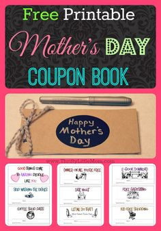 "Free Printable Mother's Day Coupon Book. Want a thrifty, handmade Mother's Day gift idea?  Check out how to build your own little book with these fun free printables!  Give mom a little more ""me"" time this year!"