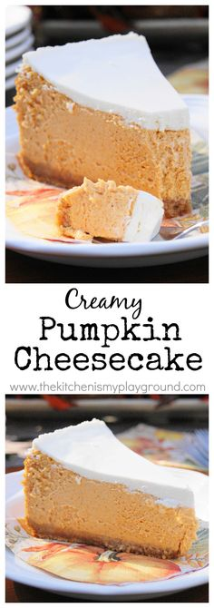 Creamy Pumpkin Cheesecake ~ what a lovely Fall dessert! www.thekitchenismyplayground.com: | Repinned by Itzy Ritzy