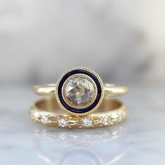 Navy Blue enamel halo with grey diamond and yellow gold setting Right Hand Rings, Alternative Engagement Rings, Boho Bride, Wedding Ring Bands, Unique Rings, Diamond Rings, Fine Jewelry, Jewelry Design, Gems