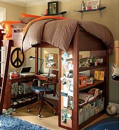 DORM ROOM:  Smart room for guys. It's Pottery Barn....would you expect any less from the PB people? Stack those beds for extra floor space.