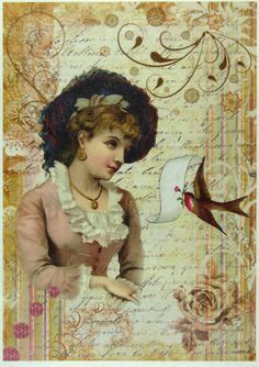 Ricepaper/ Decoupage paper, Scrapbooking Sheets /Craft Paper Lady with Bird 096 | eBay