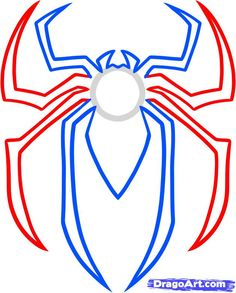 how to draw the spiderman logo, spiderman symbol step 4