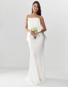 7ebfa7858a5 ASOS EDITION Satin overlay bandeau wedding dress with fishtail