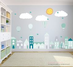 City Wall Decals, Wall Decals Nursery, Baby Wall Decal, Kids Wall Decals, Wall Decal Nursery, Nursery Wall Decal, REMOVABLE and REUSABLE